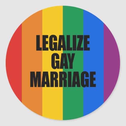 LEGALIZE GAY MARRIAGE CLASSIC ROUND STICKER