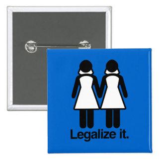 LEGALIZE LESBIAN WEDDINGS PINBACK BUTTON