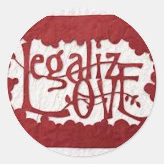 legalize love classic round sticker