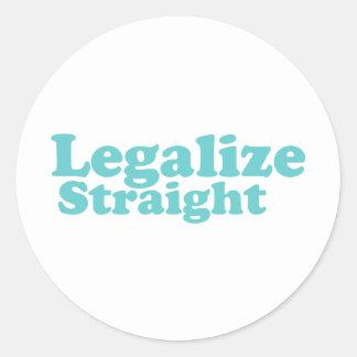 Legalize straight blue classic round sticker
