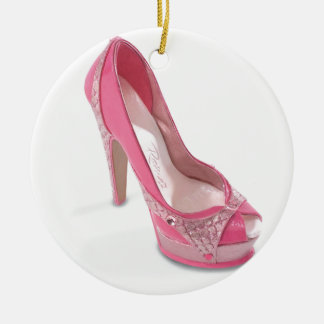 legally pink shoes ceramic ornament