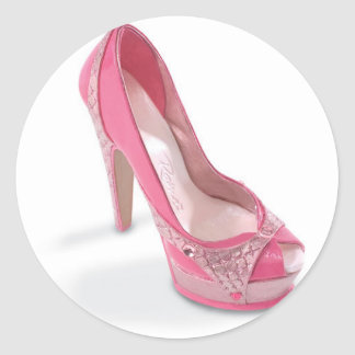 legally pink shoes classic round sticker