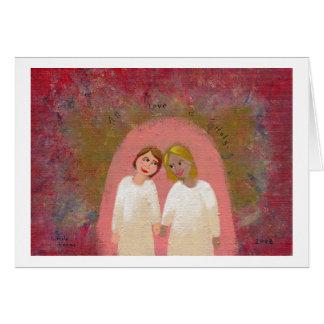Legally Wed Lesbian gay wedding folk art painting Card