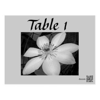 legant Black and white floral wedding table number Postcard