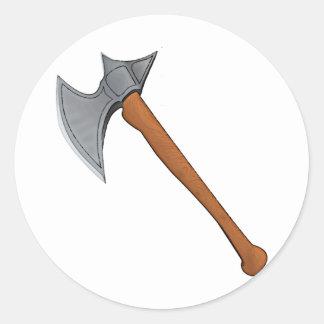Legendary battle axe classic round sticker