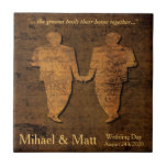 """Legendary Love Gay Wedding Gift Tile for Grooms<br><div class=""""desc"""">Tell your own epic tale of storybook romance for your grooms. Two men hold hands on their wedding day.</div>"""