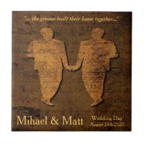Legendary Love Gay Wedding Gift Tile for Grooms