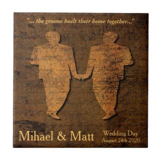 Legendary Love Gay Wedding Gift Tile for Grooms