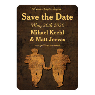 "Legendary Love Gay Wedding Save the Date Card 4.5"" X 6.25"" Invitation Card"