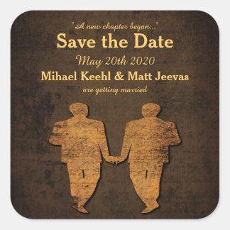 Legendary Love Save the Date Sticker Gay Wedding Square Sticker