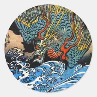 Legendary mythical Dragon Utagawa Kuniyoshi art Round Stickers