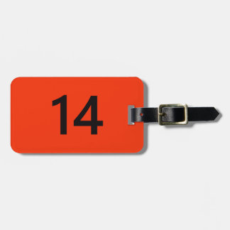 Legendary No. 14 in orange and black Bag Tag