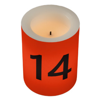 Legendary No. 14 in orange and black Flameless Candle