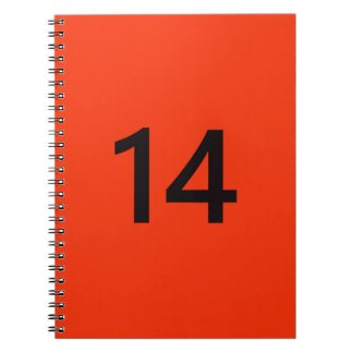 Legendary No. 14 in orange and black Spiral Notebook
