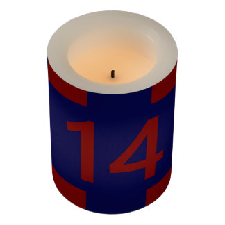 Legendary No. 14 in red and blue Flameless Candle