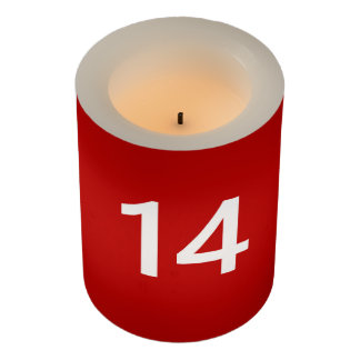 Legendary No. 14 in red and white Flameless Candle