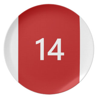 Legendary No. 14 in red and white Melamine Plate