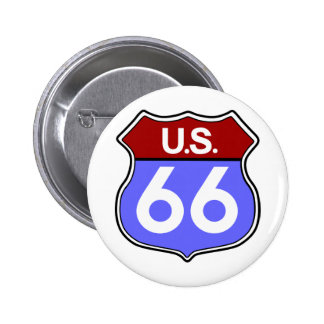 Legendary Route 66 Road Sign Pin Back Button