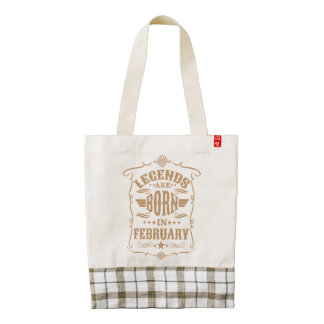 Legends are Born in February (Pale Brown Text) Zazzle HEART Tote Bag
