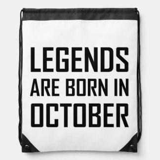 Legends Are Born In October Drawstring Bag