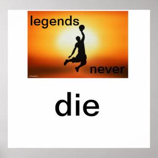 Legends Never Die- basketball sunset poster