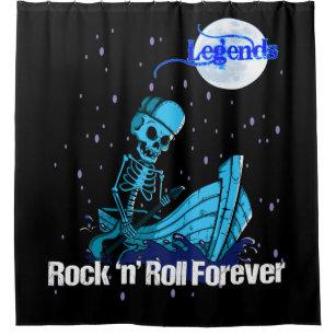 Legends Rock N Roll Forever Skeleton Guitar Shower Curtain