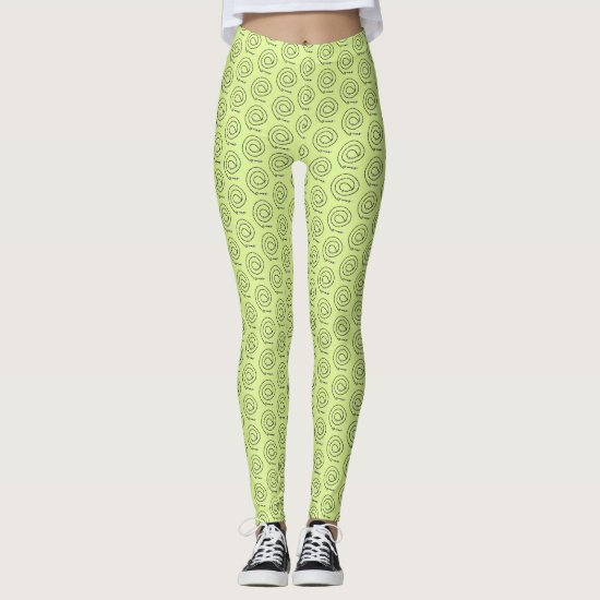 Leggings - Beaded Spirals on Light Green
