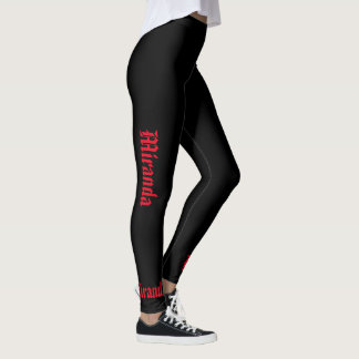 Leggings Black & Red Your Name Script S to XL