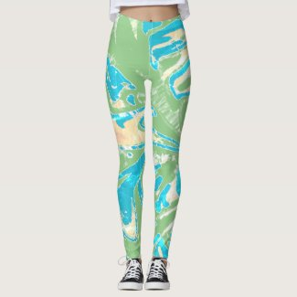 Leggings Green Waves Full