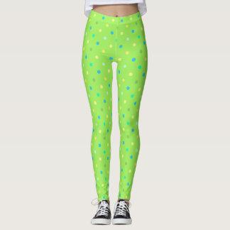 Leggings Polkadotted in green