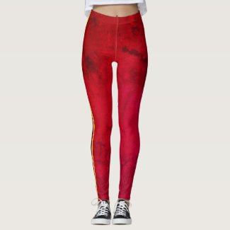 Leggings Red Full Striped