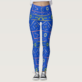 Leggings saturation blue with ethnic pattern