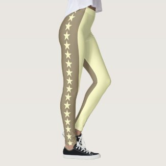 Leggings Stars Sepia Full Print
