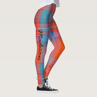 Leggings Tartan YOUR NAME Red Blue S to XL
