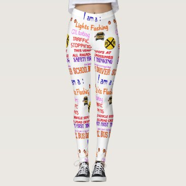 Beach Themed leggings with a school bus driver design