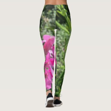 Beach Themed Leggings with Photo Print Flower Pink Green