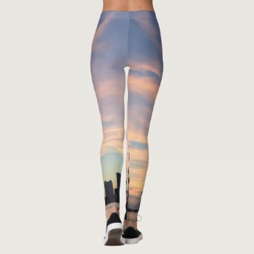 Beach Themed Leggings with Photo Print Jersey Shore with Ship