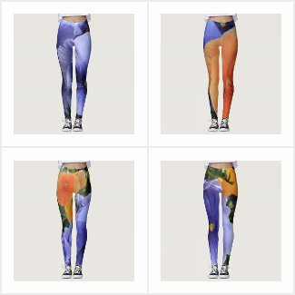 Leggings with Photos of Purple and Orange Pansies