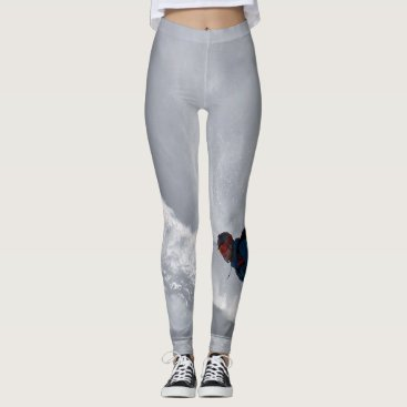USA Themed Leggings with snowboarder Gray