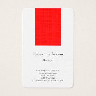 Legible trendy plain simple minimalist red white business card