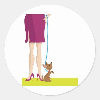Legs and Dog Classic Round Sticker