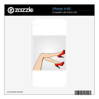 Legs of a woman wearing red stilettos iPhone 4 decal