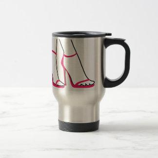 Legs of a woman wearing stilettos travel mug
