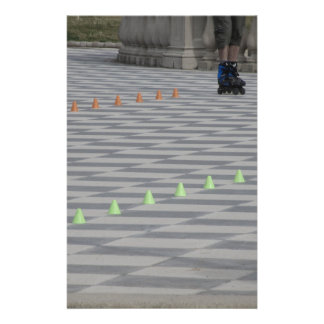 Legs of guy on inline skates . Inline skaters Stationery