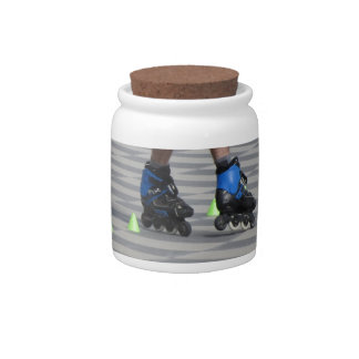 Legs of guy on rollerblades. Rollerblader Candy Jar