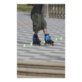 Legs of guy on rollerblades. Rollerblader Stationery