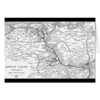 Lehigh Valley Railroad Map 1903 Card