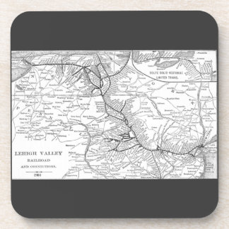 Lehigh Valley Railroad Map 1903 Drink Coaster
