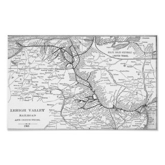 Lehigh Valley Railroad Map 1903  Poster