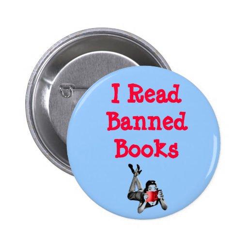 Leí el botón de los libros prohibidos pins